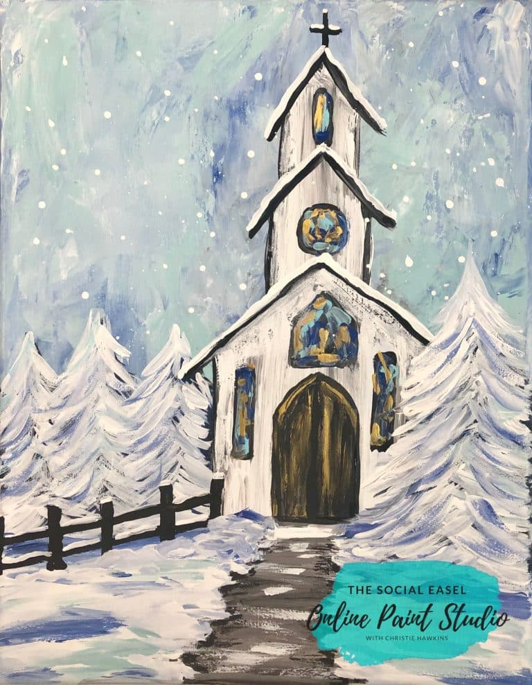 Winter Chapel The Social Easel Online Paint Studio