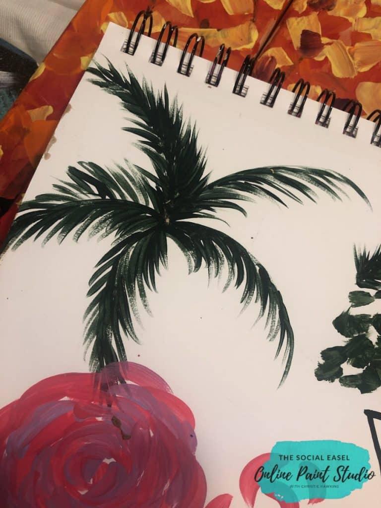 Round Brush Painting Palm Trees