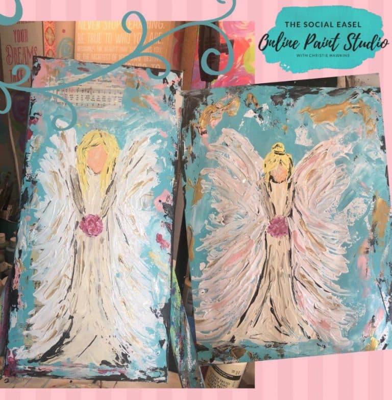 2 Palette Knife Angel Paintings The Social Easel Online Paint Studio