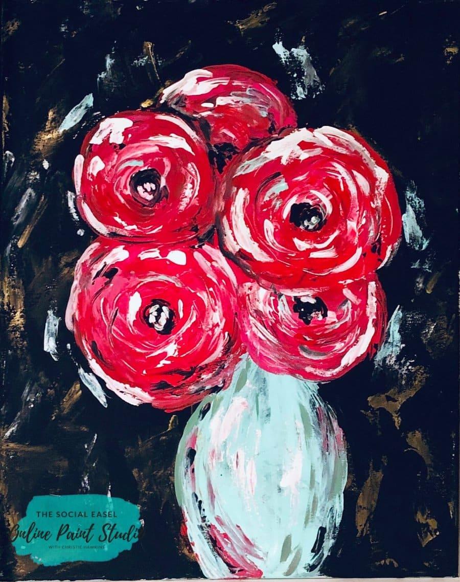 Painting Palette Knife Flowers The Social Easel Online Paint Studio